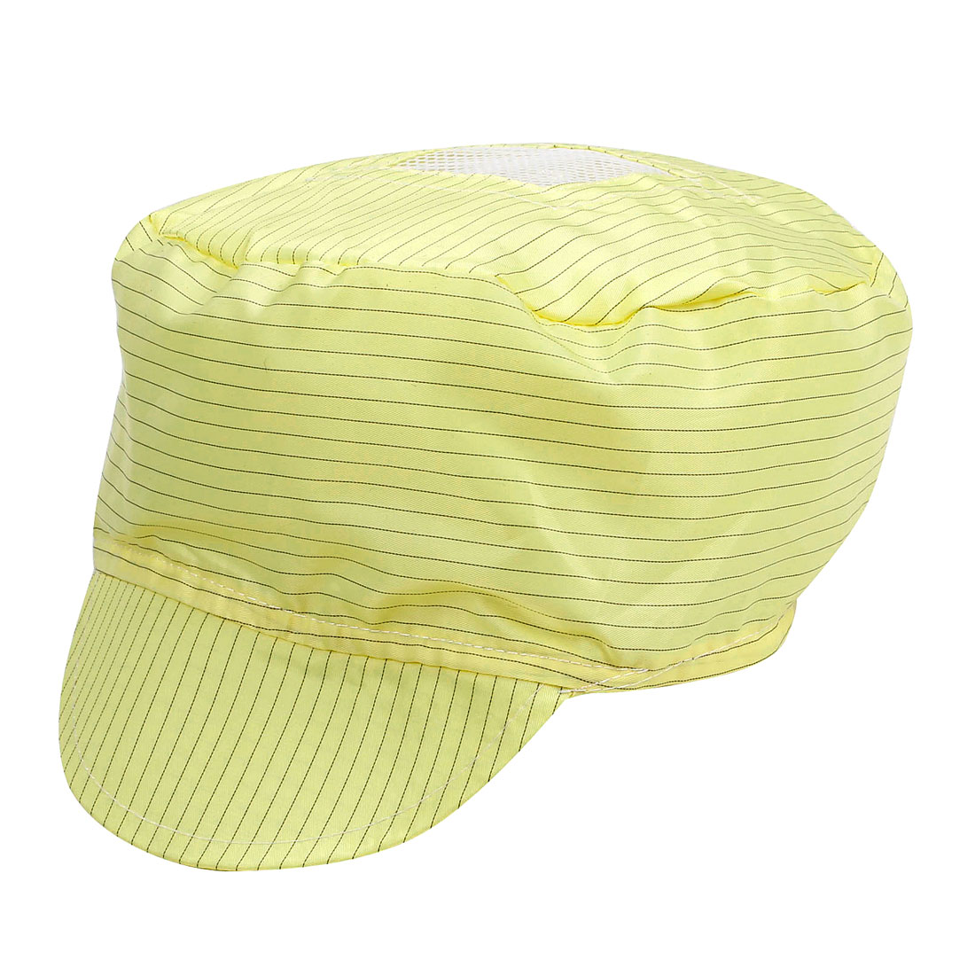 Woman Men Black Yellow Stripe Pattern Anti-Static Visor Cap Hat PC Working Tool