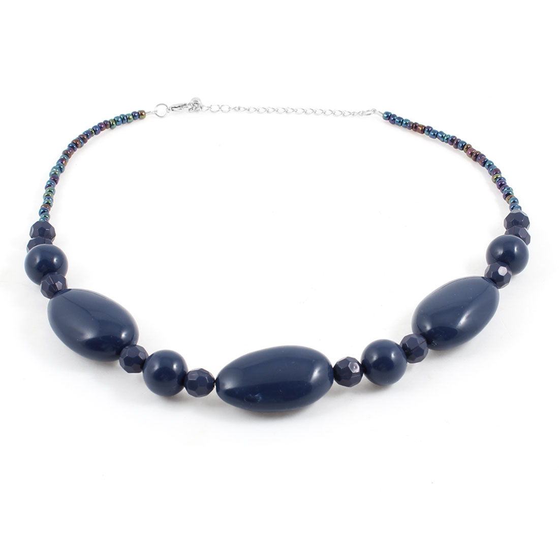 Plastic Dark Blue Crystal Decor Lobster Clasp Necklace for Lady