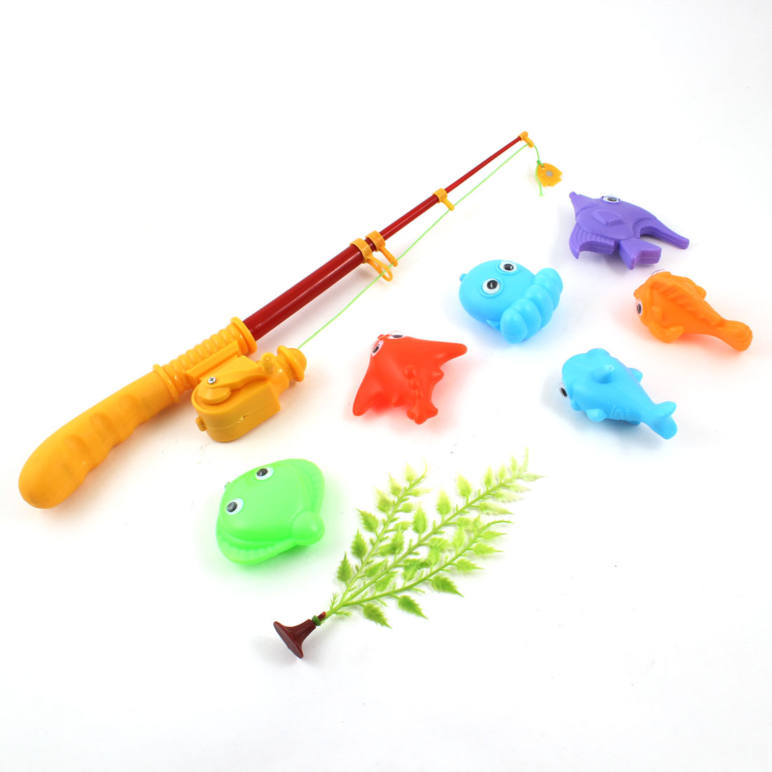 8 in 1 Colors Plastic Sea Creatures Magnetic Telescopic Fishing Rod Toy for Kids
