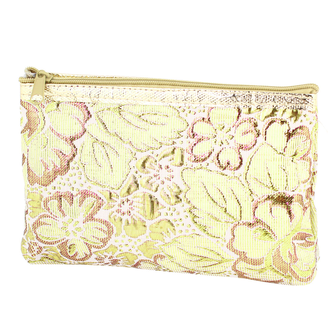 Glittery Floral Faux Leather Lining Zip Up Cosmetic Bag Holder Gold Tone Fuchsia