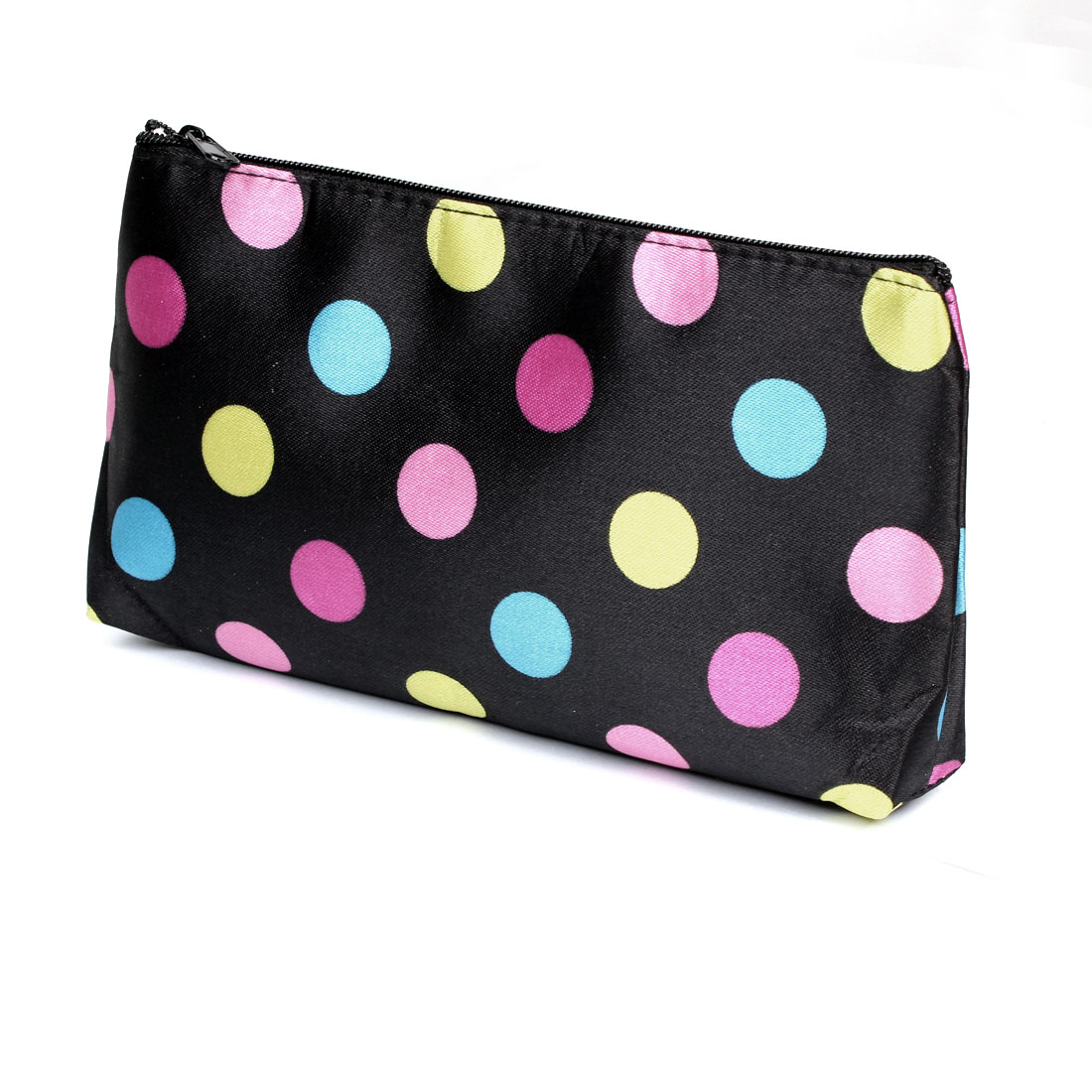 Ladies Colorful Dots Print Zip Up Makeup Cosmetic Pouch Bag Case Holder