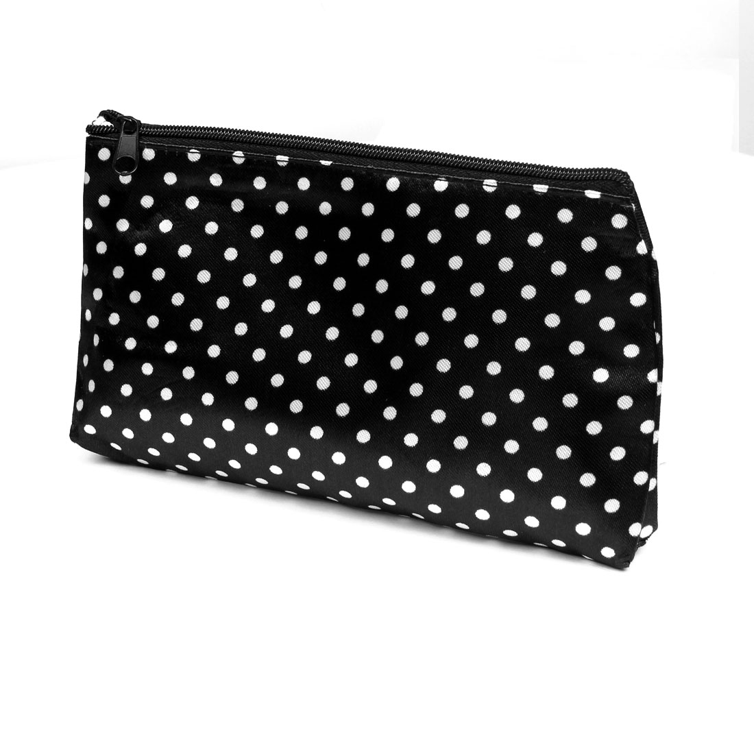 White Polka Dotted Printed Zipper Closure Makeup Pouch Bag Black for Women