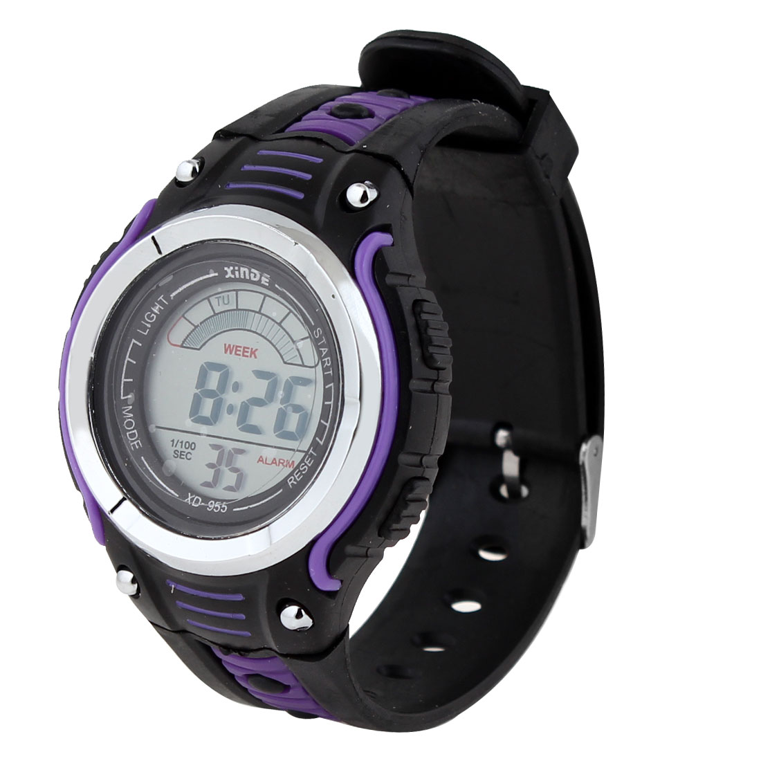 Child One Pin Buckle Hours LCD Display Digital Watch Wristwatch Purple Black