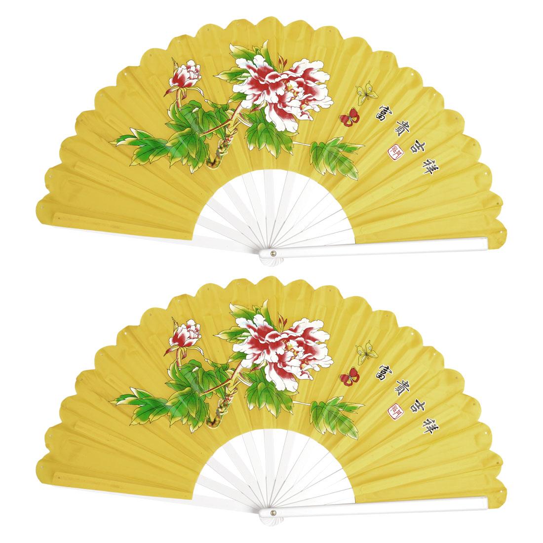 2 Pcs Plastic Frame Peony Print Nylon Foldable Hand Fan Yellow