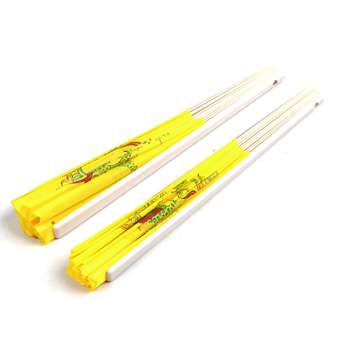 2 Pcs Plastic Frame Double Dragon Print Nylon Foldable Hand Fan Yellow