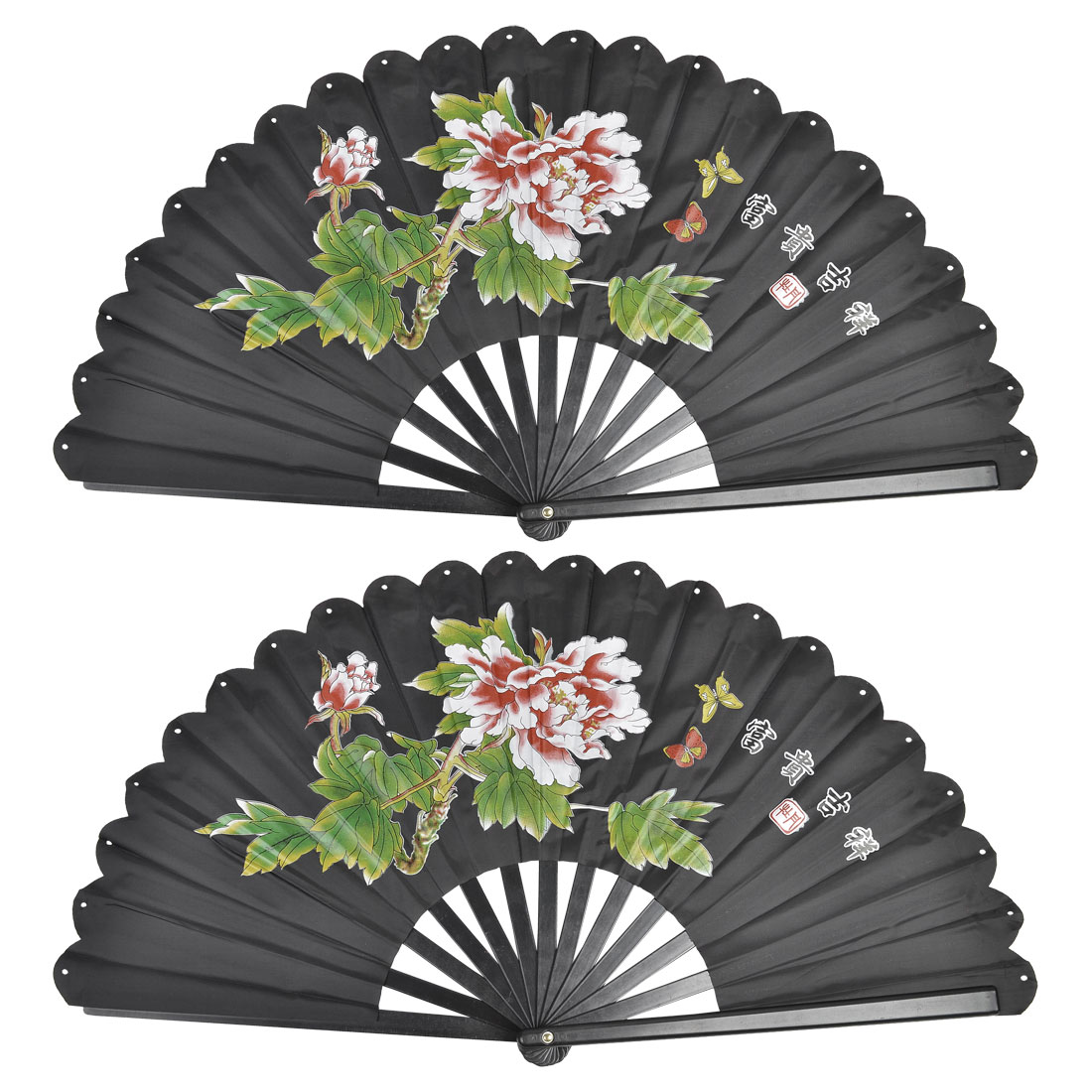 2 Pcs Plastic Frame Peony Print Nylon Foldable Hand Fan Black