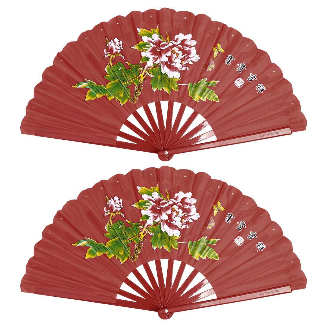 2 Pcs Plastic Frame Peony Print Nylon Foldable Hand Fan Red