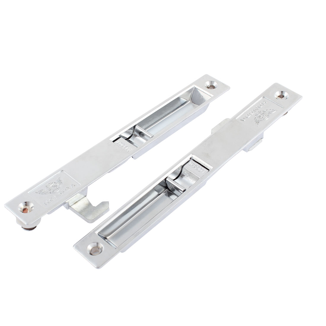 "2 Pcs Silver Tone Sliding Window Mounting Lock Latch 7.2"" Long"