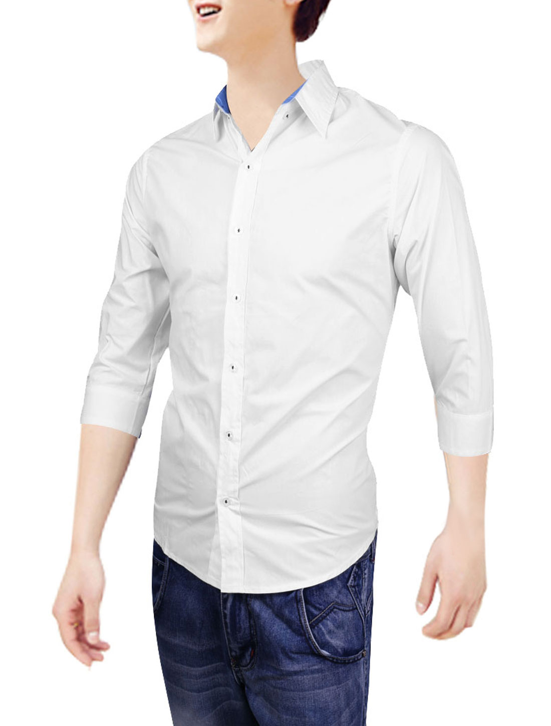 Man Korea Fashion 3/4 Sleeve Design Button Down White Casual Shirt S