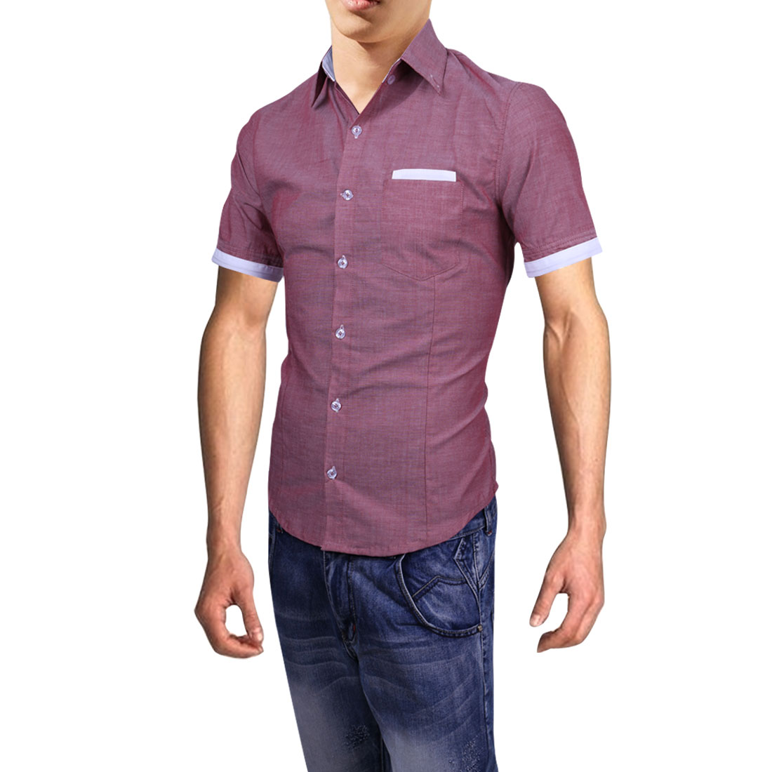 Mens New Style Chest Patch Pocket Design Light Burgundy Shirt S