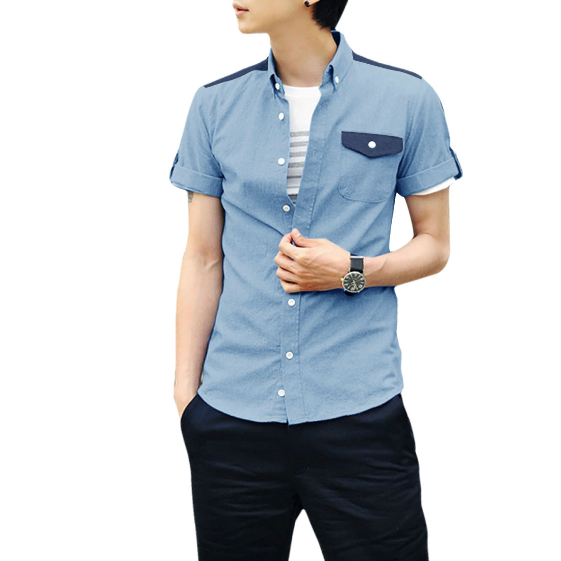 Mens Korea Fashion Point Collar Roll Up Sleeve Light Blue Casual Shirt M