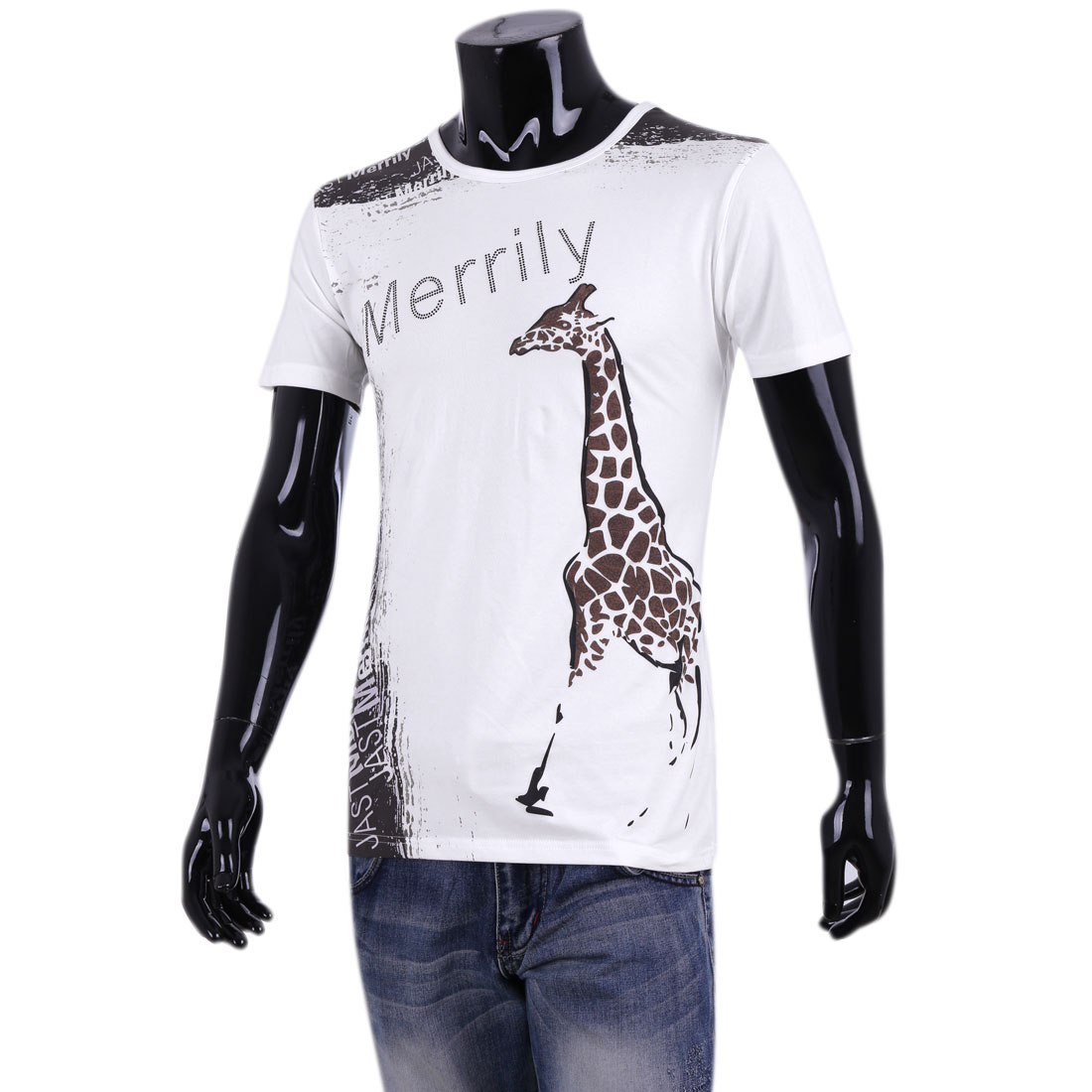 Mans New Style Pullover Short Sleeve Giraffe Prints White Casual Tops M