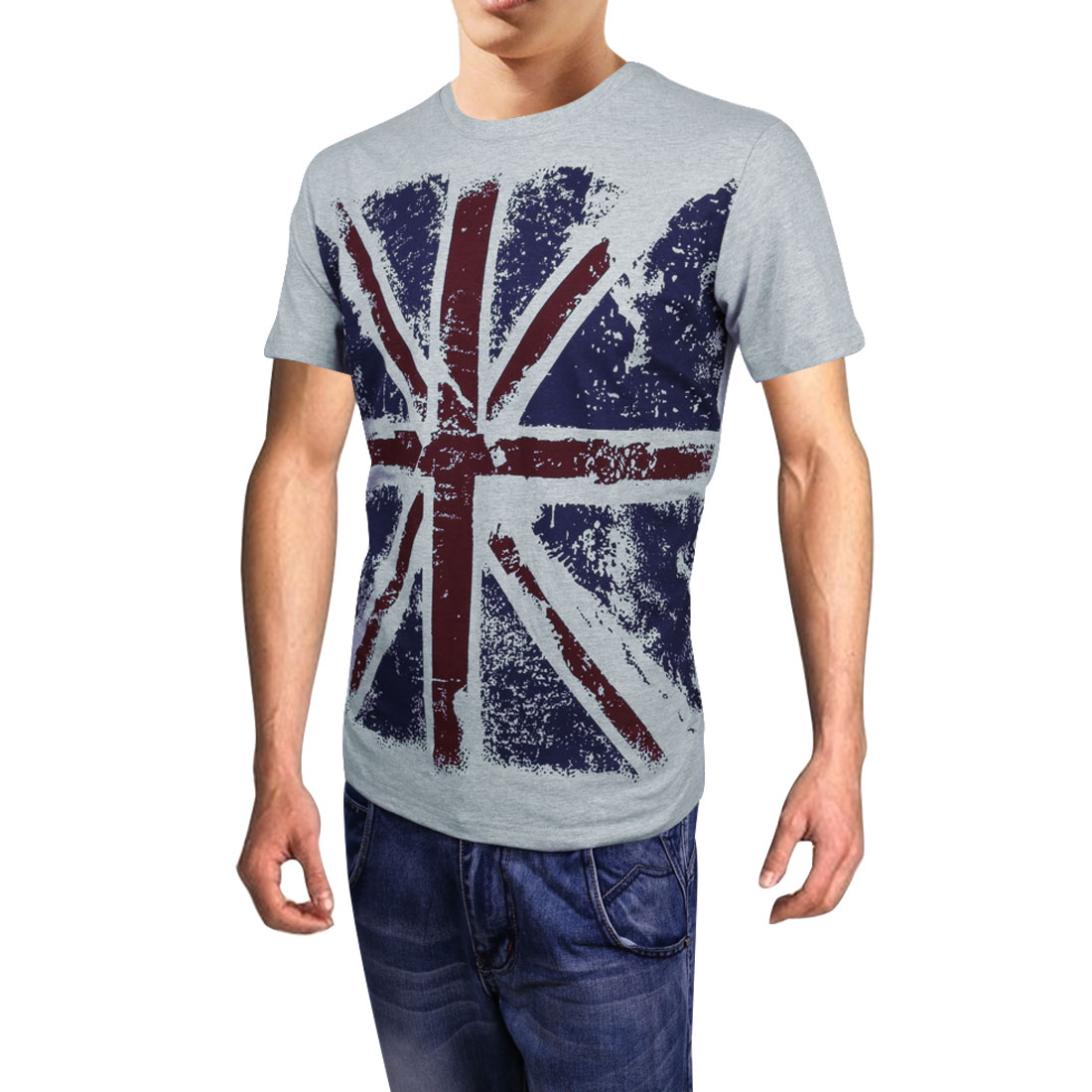 Mens Fashion UK Flag Prints Pullover Light Gray Casual Summer Shirt M
