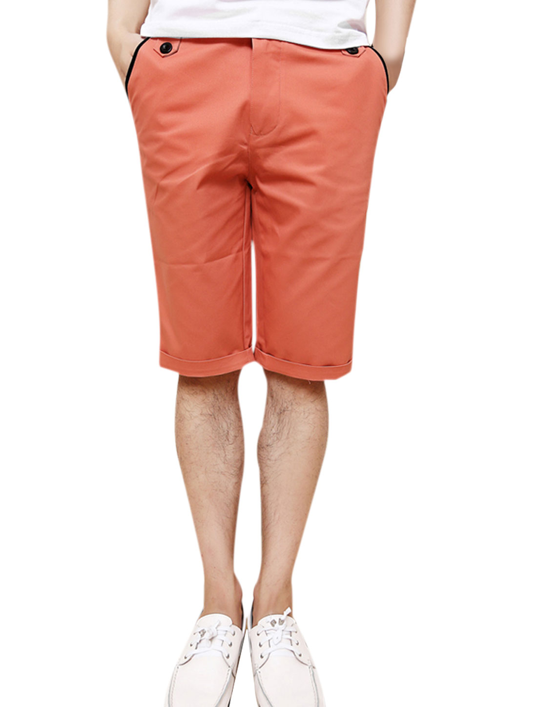 Men Waistband Loop Zip Closure Mid Rise Casual Short Pants Coral W32