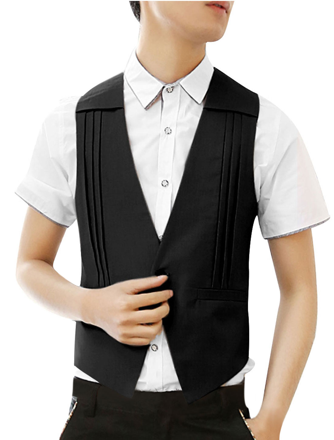 Mens Black Sleeveless Ruched Detail Casual Simple Style Vest S