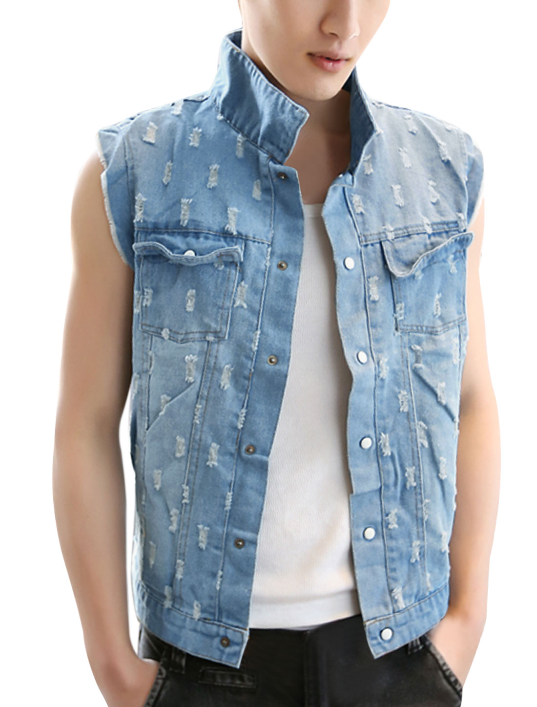 Mens Light Blue Sleeveless Destroyed Detail Fashional Denim Vest S