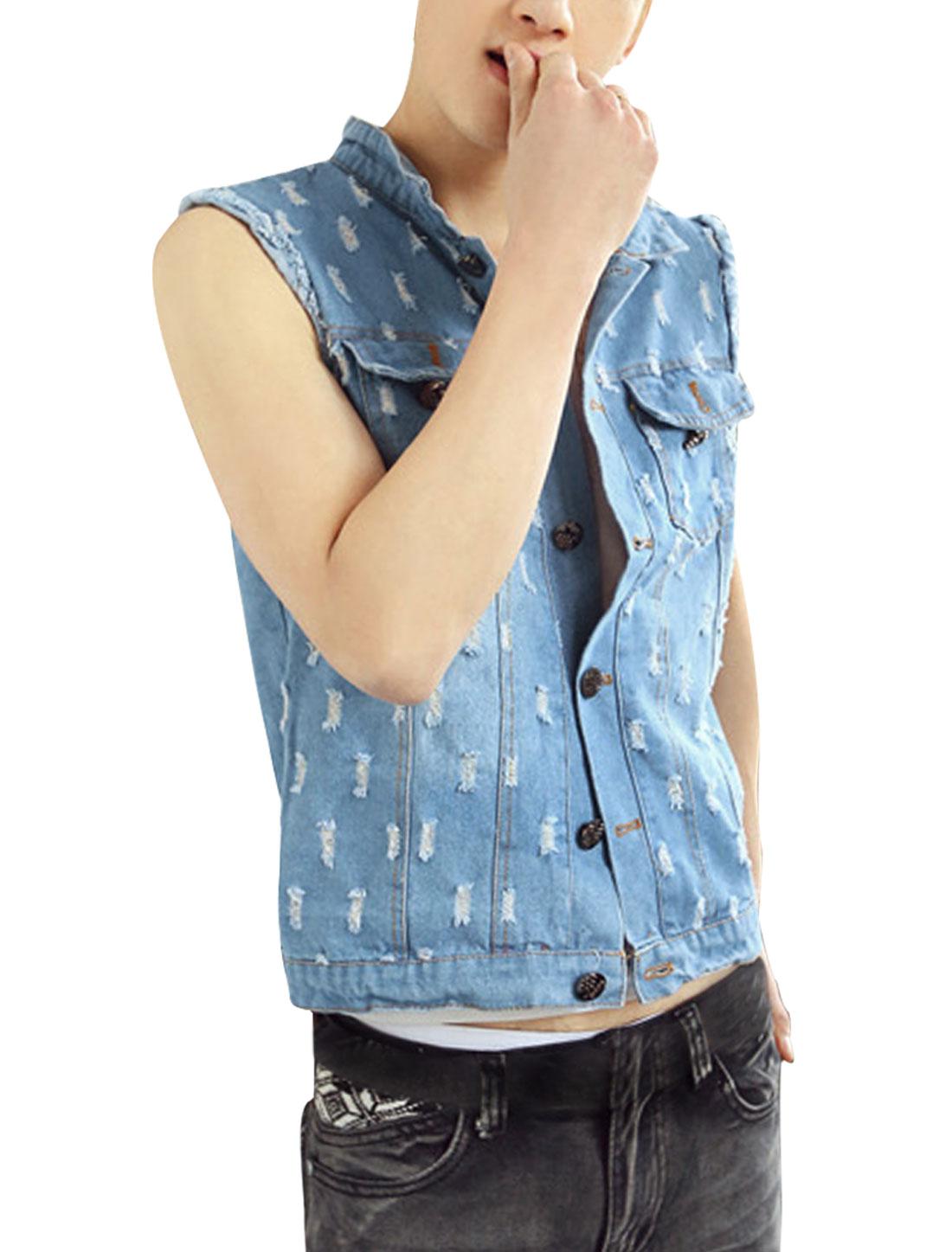 Mens Light Blue Point Collar Flag Prints Back Fashional Denim Vest S