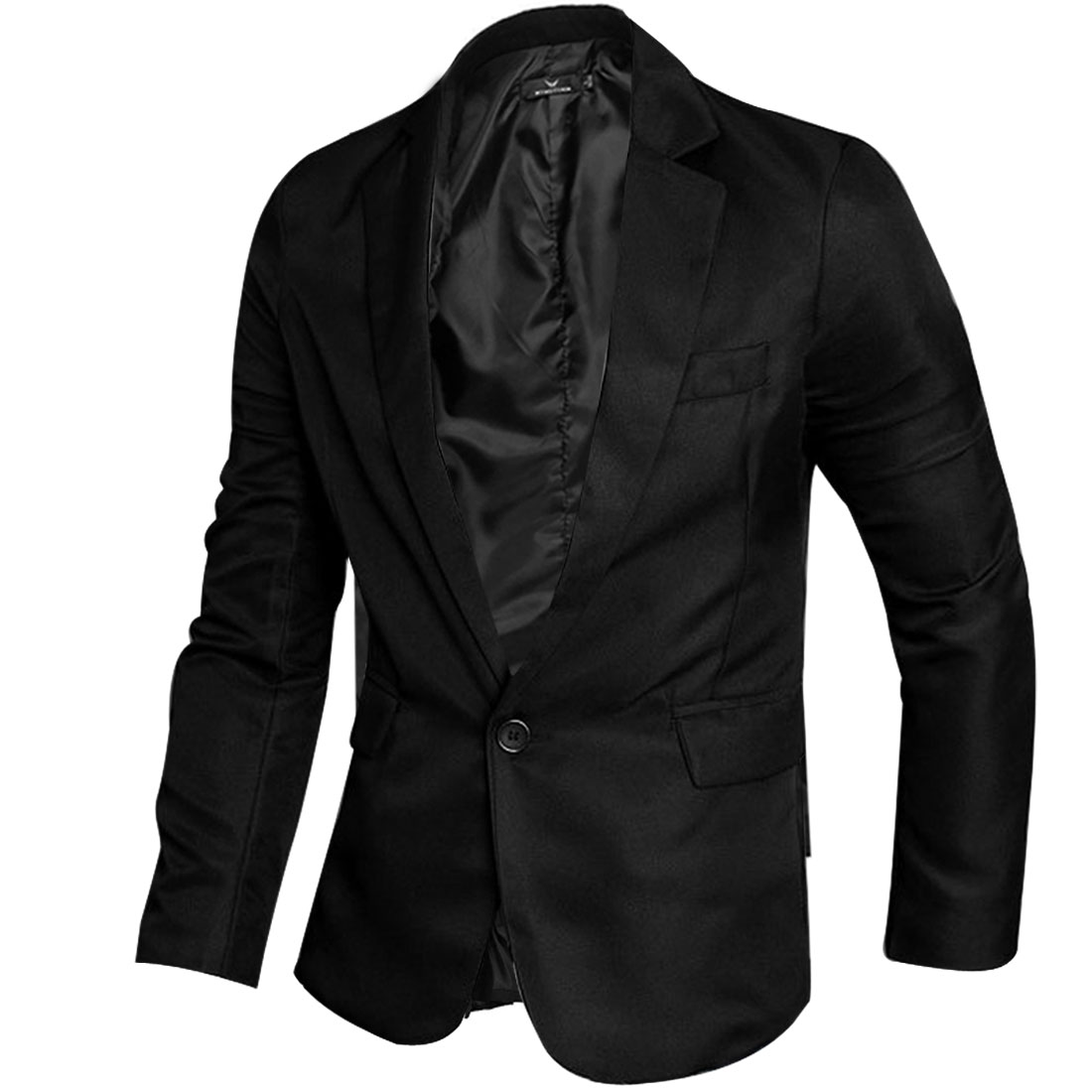 Men Long Sleeve Notched Lapel Buttoned Decor Cuff Blazer Black M