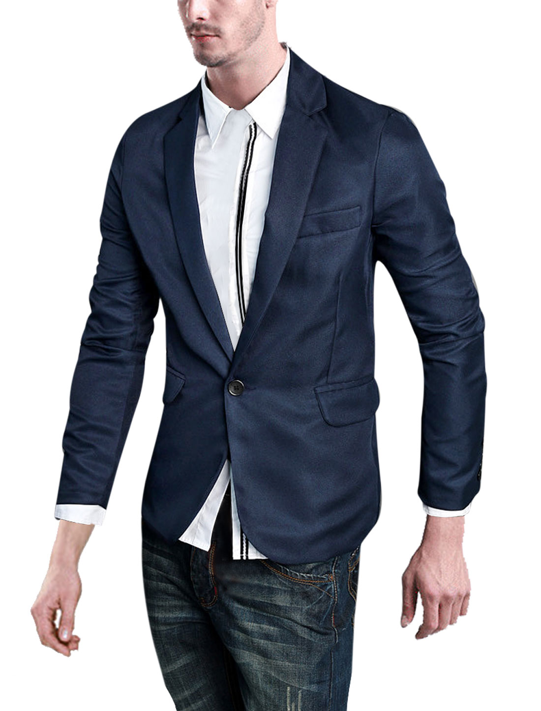 Man One Button Front Padding Shoulder Long-sleeved Blazer Dark Blue M