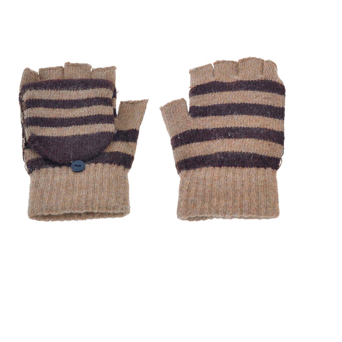 Stripe Ribbed Knitted Acrylic Flap Cover Fingerless Gloves Pair Khaki for Unisex