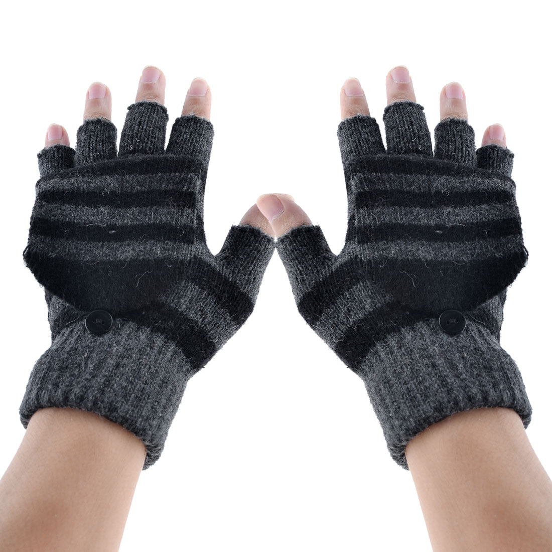 Stripe Ribbed Knitting Flap Cover Fingerless Gloves Black Pair for Unisex