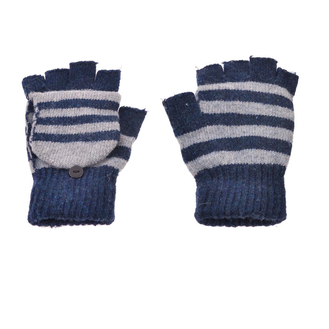 Lady Man Pair Stripe Pattern Elastic Knitted Flap Fingerless Gloves Dark Blue