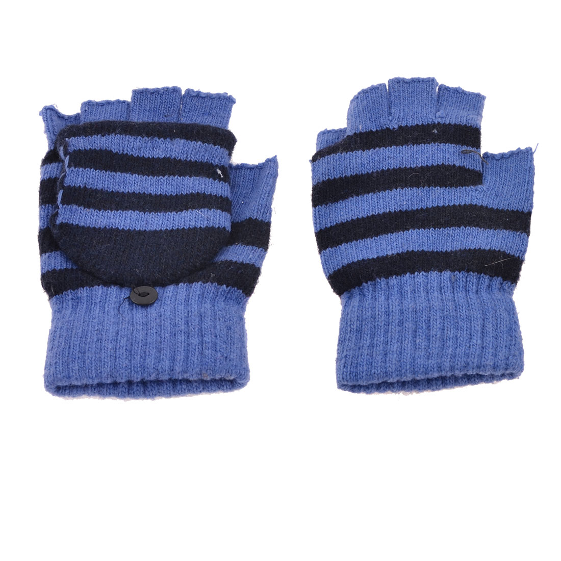 Ladies Man Pair Stripe Pattern Knitting Flap Cover Fingerless Warm Gloves Blue Black