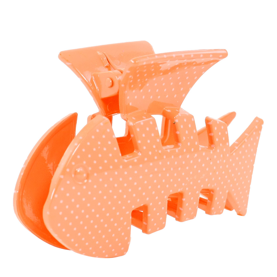 Lady Dark Orange Fish Shaped Dots Pratten Plastic Spring Loaded Hairclip Claw