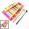 Fuchsia Plastic Shelf Metal 8 Tone Beat Percussion Piano Toy for