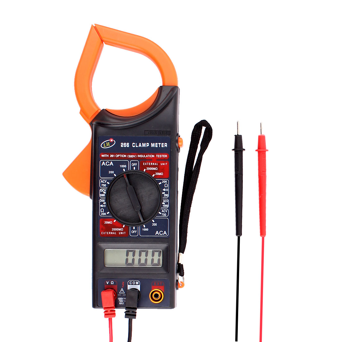 Volt Ohm Meter Multimeter Digital Clamp Meter w Test Probe Leads Red Black