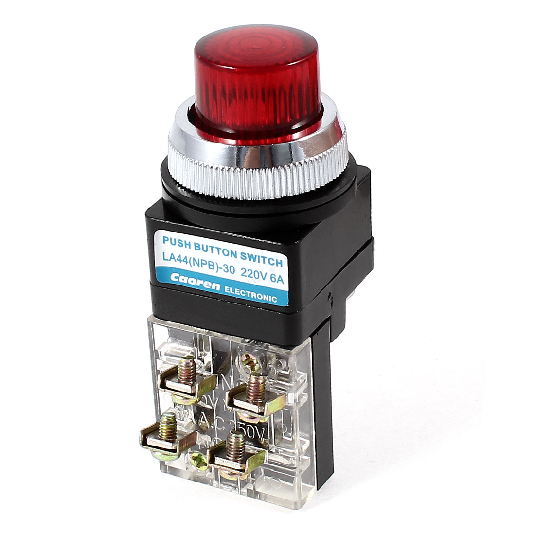 Ui 600V Ith 6A DPST 1NO 1NC Momentary Type Red Indicator Lamp Push Button Switch