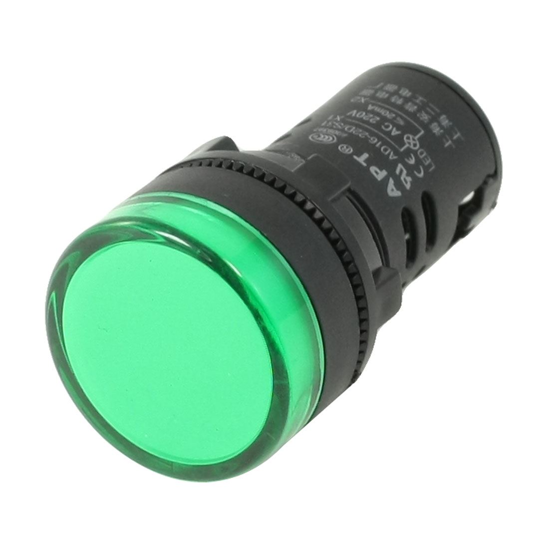 AC 220V Green LED Power Indicator Pilot Single Light Lamp 22mm