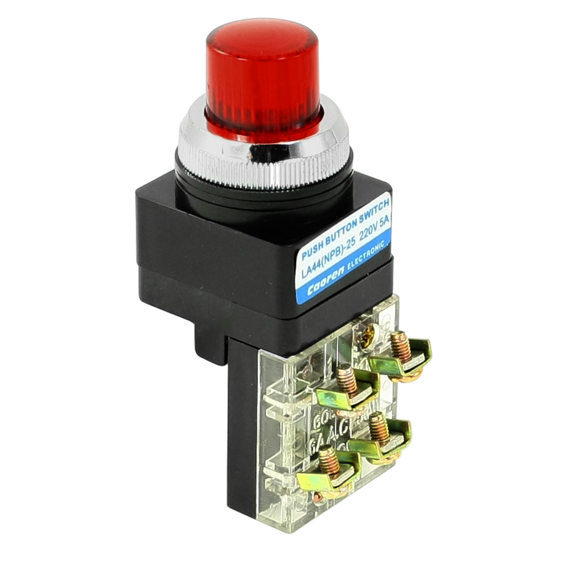 AC 250V 6A 1NO 1NC DPST Red Momentary Push Button Switch w AC 240V LED Light