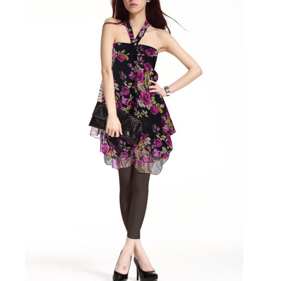 Ladies Black Fuchsia Flowers Pattern Stylish Halter Blouse XS