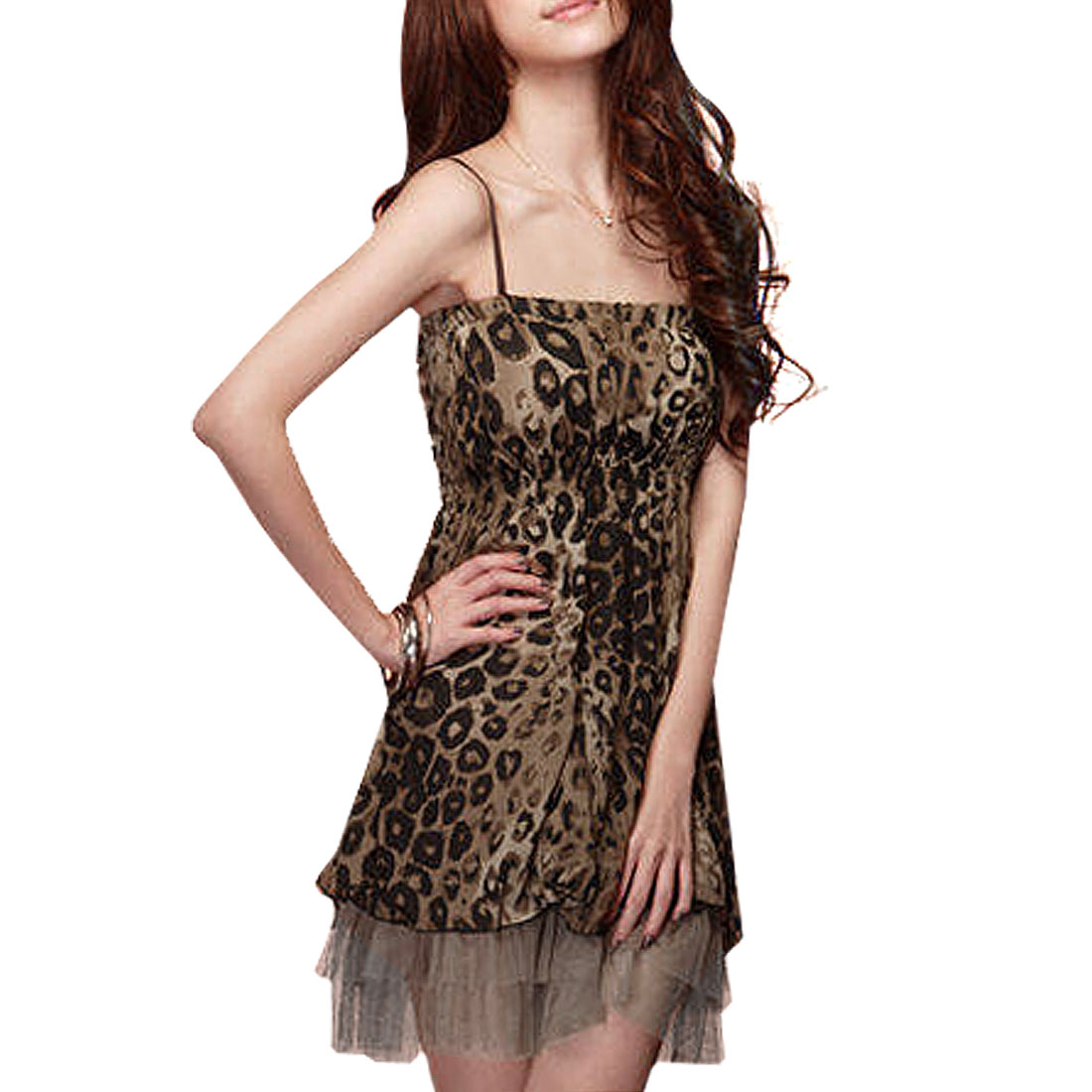 Sleeveless Sheath Waist Mini Spaghetti Dress Brown Black XS for Ladies