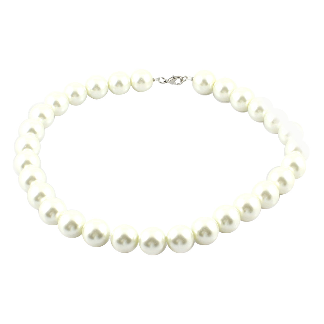 "Women Off White Imitation Pearl Lobster Clasp Necklace Jewelry 16.5"" Girth"