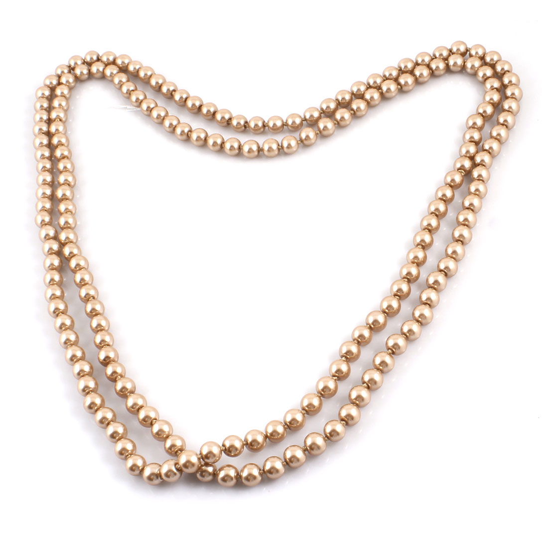 Rose Gold Tone Woman Imitation Pearl Decor Round Beads Sweater Necklace 4.9ft Long