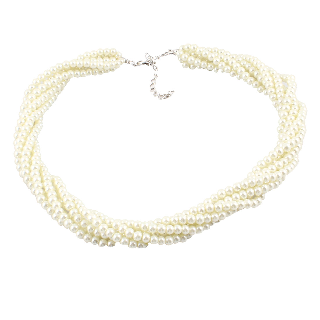 """18"""" Long Beige Metal Plastic Imitation Pearls Beaded Necklace for Woman"""