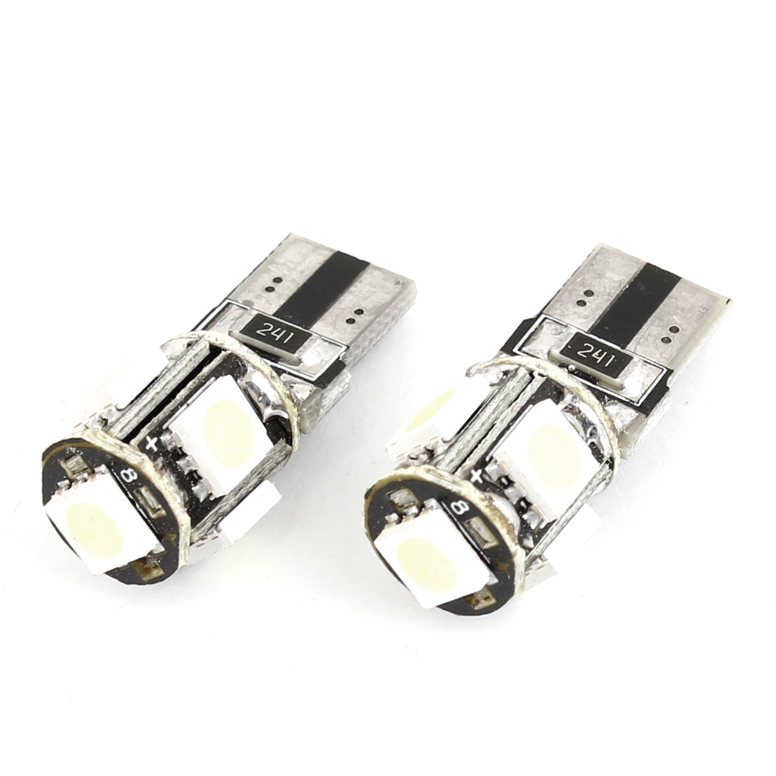 2PCS Car T10 5 Ice Blue LEDs 5050 SMD Canbus Error Free LED Light Lamp Bulbs