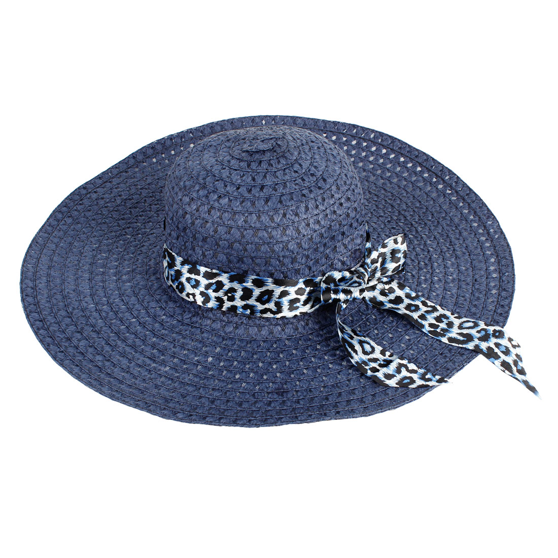 Dark Blue Leopard Prints Ribbon Wide Brim Cut outs Sun Straw Hat for Ladies
