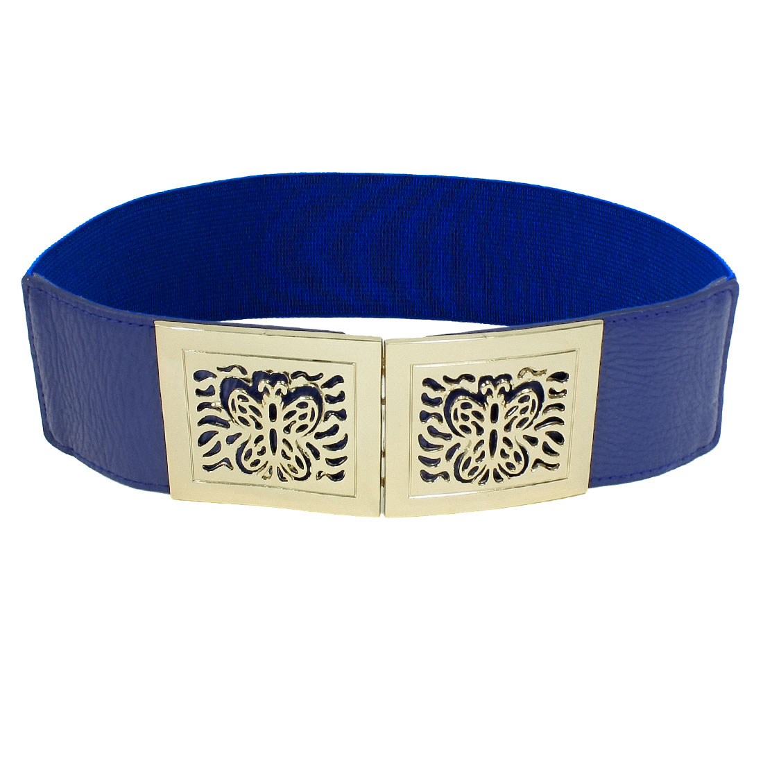 Hollow Out Butterfly Interlocking Buckle Elastic Waist Band Blue for Ladies