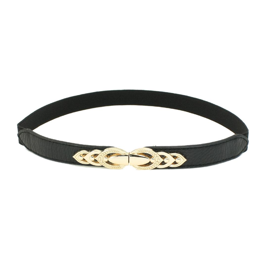 Leaf Interlink Interlocking Buckle Detail Ladies Black Texturing Waist Belt