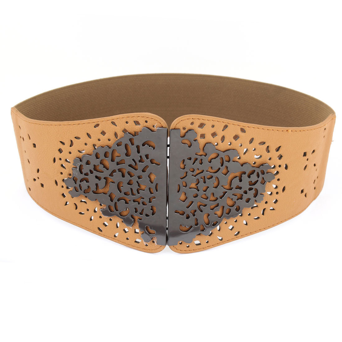 Hollow Out Flower 7.5cm Width Elastic Khaki Waistbelt for Ladies