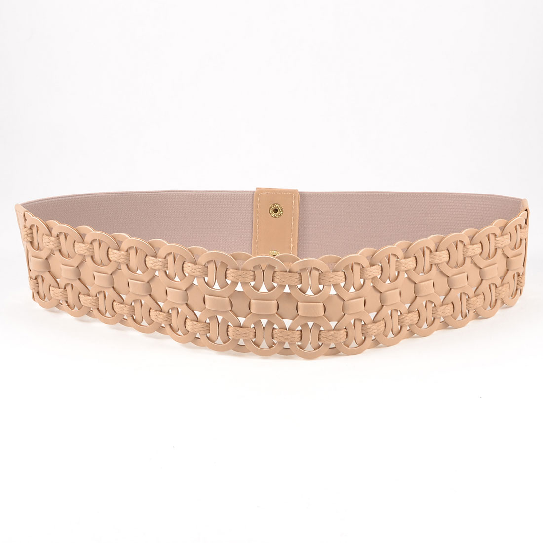 Women Light Pink 8 Shape Faux Leather Litchi Print Elastic Waist Cinch Belt