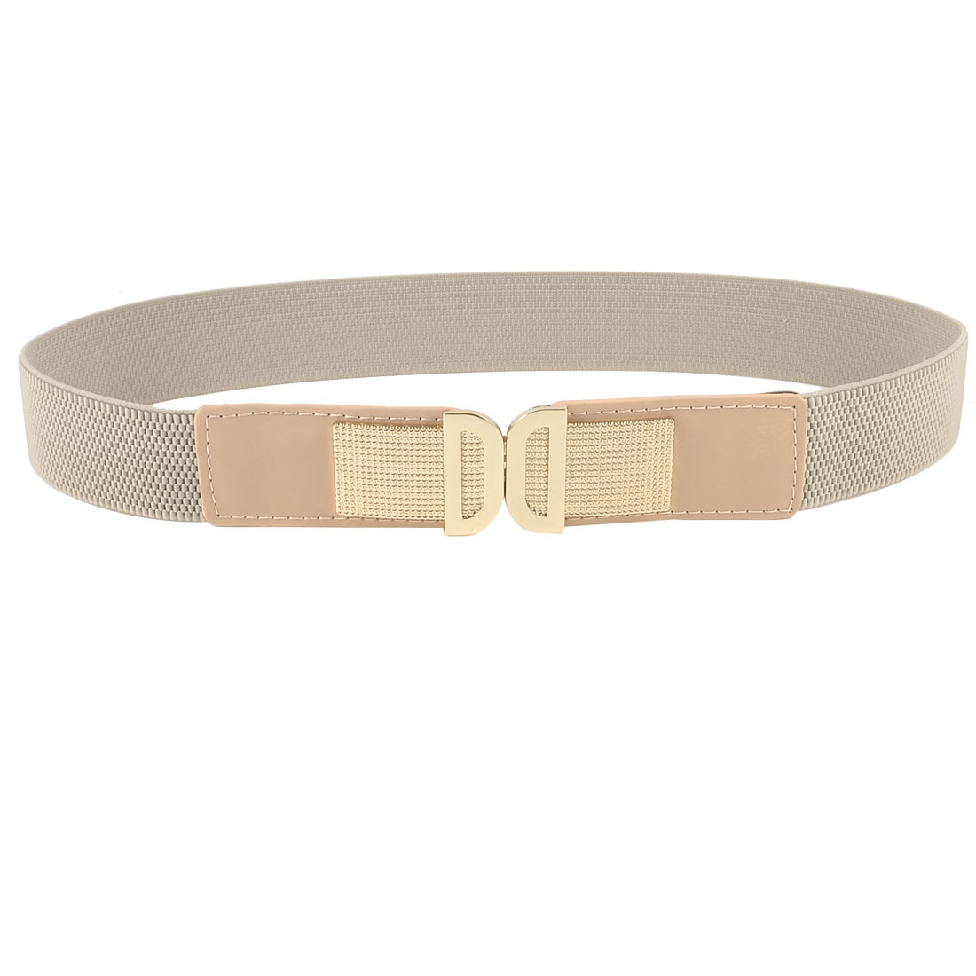 Women Double D Design Interlocking Buckle Gray Pink Elastic Cinch Waist Belt