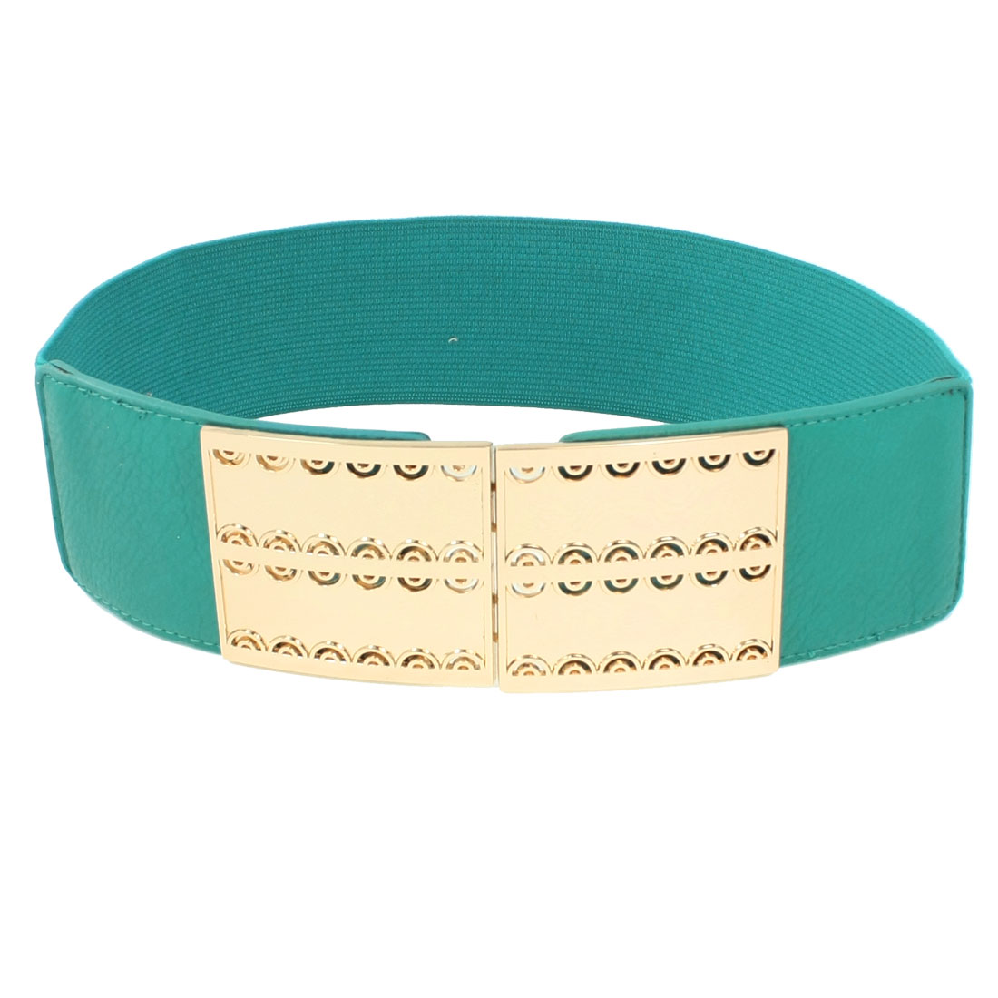 Women Hollow Out Design Metal Buckle Detail Turquoise Textured Spandex Waistbelt