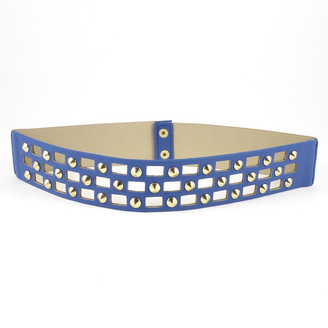Woman Metal Buckle Crocodile Print Nail Detailing Stretchy Cinch Waist Belt Blue