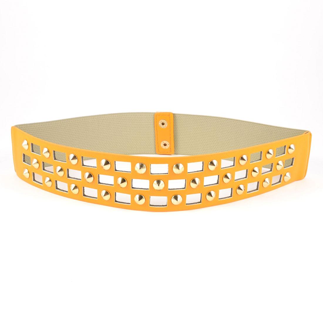 Lady Metal Buckle Crocodile Pattern Nail Decoration Stretch Cinch Belt Orange