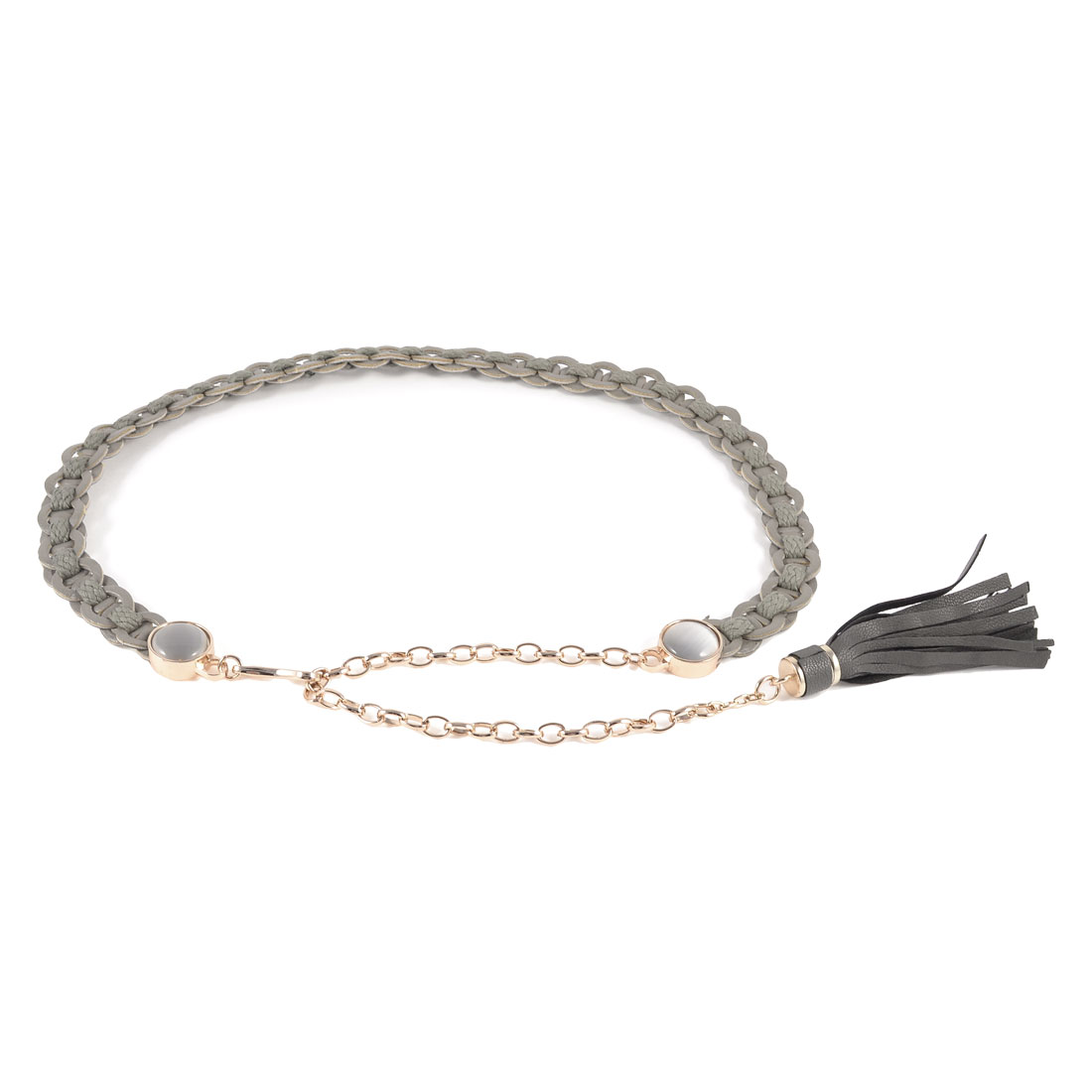 Ladies Opal Decoration Faux Leather Braided Band Chain Slender Waist Belt Gray