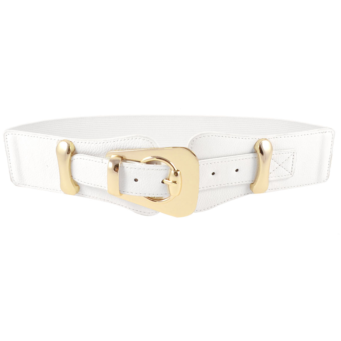 Lady Single Pin Buckle Crocodile Print Elastic Waist Cinch Belt Band White